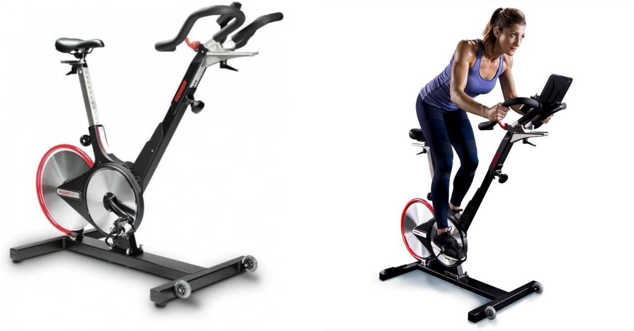 Image: Two images of Keiser M3i Spin Bike