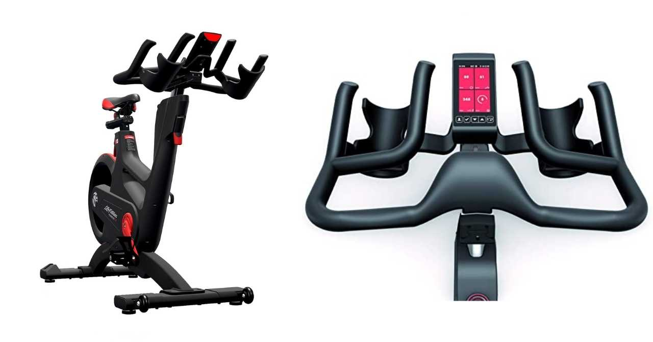 Image: Two images of Life Fitness IC7 indoor spin bike
