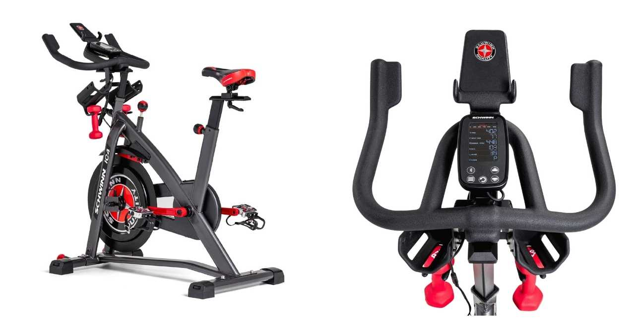 Image: Two images of Schwinn IC4 magnetic indoor cycle